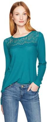 Lucky Brand Women's Lace Collar Thermal Top