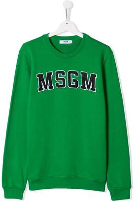 MSGM Kids TEEN logo patch sweatshirt