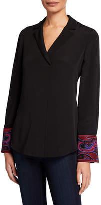 Kobi Halperin Maxima V-Neck Long-Sleeve Silk Blouse w/ Notch Collar