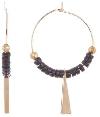 Panacea Black Beaded Drop Hoop Earrings