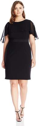 Adrianna Papell Women's Plus Size Knit Crepe Caplet Sheath Dress