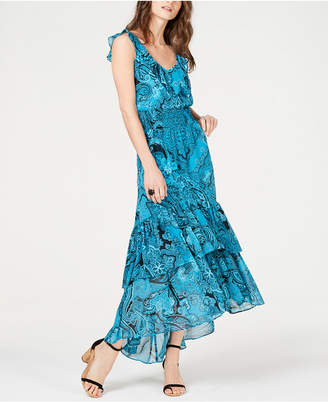 INC International Concepts I.N.C. Smocked Ruffle High-Low Maxi Dress, Created for Macy's