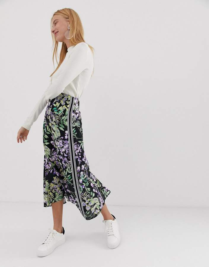 ASOS DESIGN floral longer length midi skirt with sports tipping