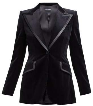 Dolce & Gabbana Satin Trimmed Single Breasted Velvet Blazer - Womens - Black