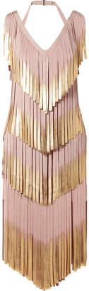 Herve Leger Fringed Metallic Bandage Dress - Blush