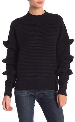 Line & Dot Beau Ruffle Ribbed Knit Sweater
