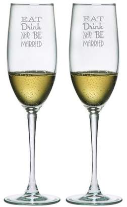 Susquehanna Glass Eat Drink & Be Married 8 oz. Champagne Flute