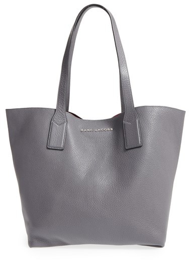 Marc JacobsMarc Jacobs 'Wingman' Leather Shopping Tote - Grey