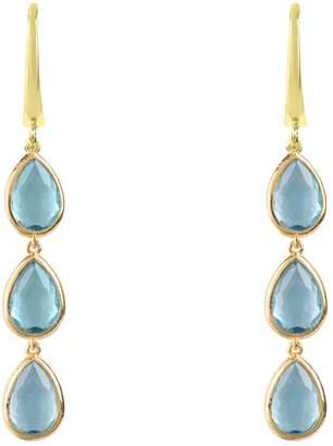 Latelita London - Sorrento Triple Drop Earring Gold Blue Topaz