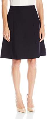 Lark & Ro Women's A-Line Side Button Skirt