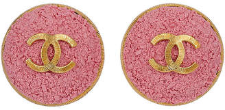 One Kings Lane Vintage Chanel Oversize Pink Logo CC Earrings - Vintage Lux
