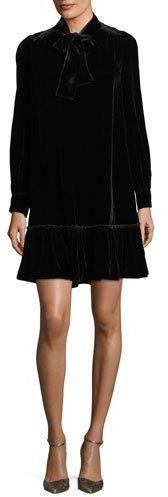Kate Spade New York Long-Sleeve Velvet Tie-Front Swing Dress