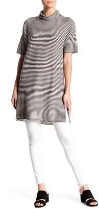 Eileen Fisher Wool Stripe Print Funnel Neck Tunic