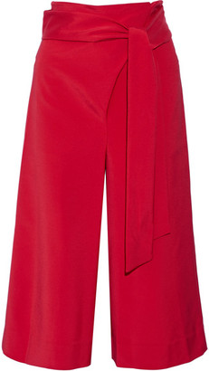Tibi - Cropped Stretch-faille Wide-leg Pants - Red $450 thestylecure.com