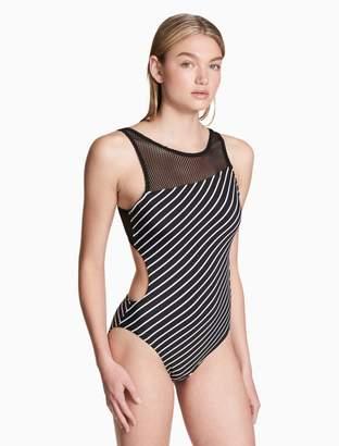 Calvin Klein striped open back mesh one-piece swimsuit