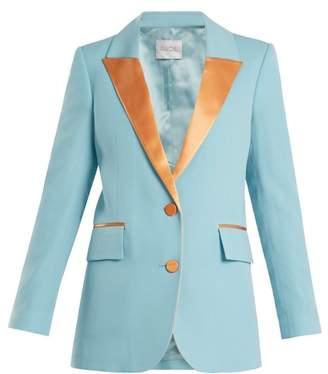 Racil - Tokyo Single Breasted Contrast Lapel Wool Blazer - Womens - Blue Multi