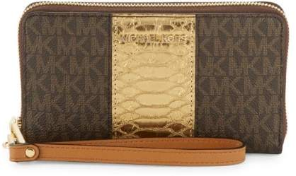Michael Kors Large Flat Multifunction Phone Case Wristlet - Brown - 32F7GFDE4B-200 - ONE COLOR - STYLE