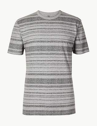 Marks and Spencer Slim Fit Pure Cotton Striped T-Shirt