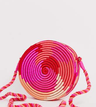 Accessorize Rosa straw round pink cross body bag