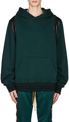 Amiri Men's Leather-Inset Cotton Oversized Hoodie - Dk. Green