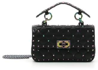 Valentino Small Oil Slick Rockstud Spike Lambskin Shoulder Bag