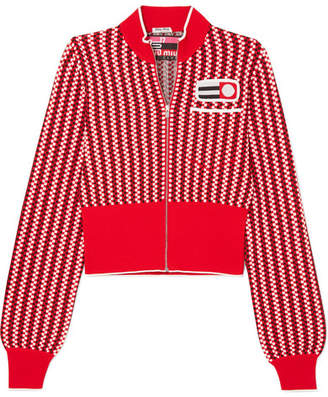 Miu Miu - Cropped Appliquéd Checked Knitted Cardigan - Red
