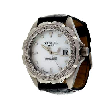 Mother of Pearl Krieger Sport Stainless Steel Dial Diamond Bezel Alligator Strap 44mm Mens Watch