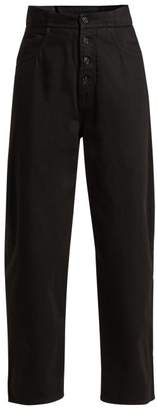 MM6 MAISON MARGIELA High Rise Exposed Button Jeans - Womens - Black