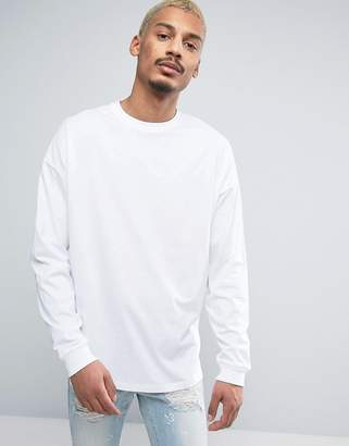 Asos DESIGN Oversized Long Sleeve T-Shirt With Cuff In White