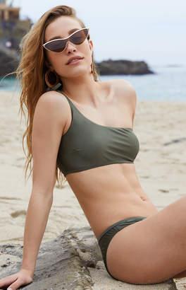 La Hearts Loverbird Olive One Shoulder Bikini Top