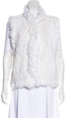 Belle Fare Fox-Trimmed Fur Vest w/ Tags