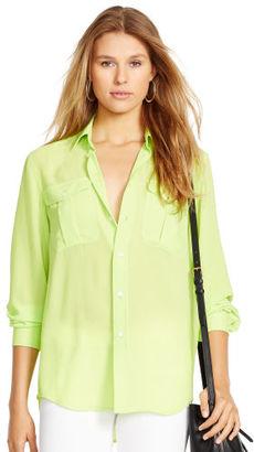 Polo Ralph Lauren Crepe Long-Sleeve Shirt $198 thestylecure.com