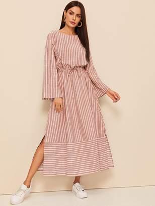 Shein Bell Sleeve Drawstring Waist Split Striped Dress