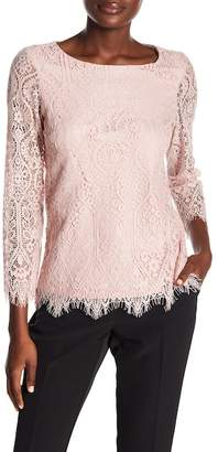 Adrianna Papell Scalloped Floral Lace Blouse