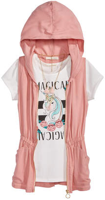 Self Esteem Big Girls 3-Pc. Hooded Vest, T-Shirt & Necklace Set