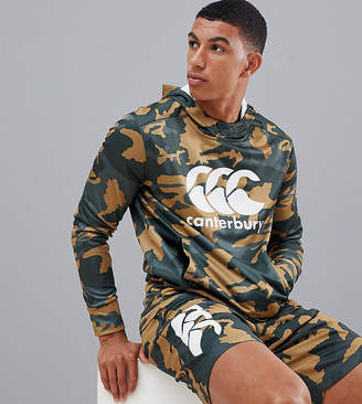 Canterbury of New Zealand Vapodri Camo Hoodie In Khaki Exclusive To ASOS