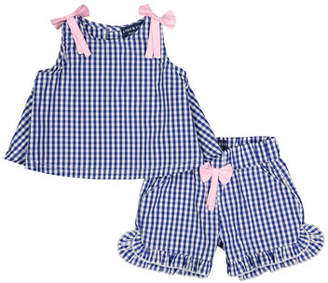 Andy & Evan Gingham Sleeveless Top w/ Ruffle Shorts, Size 3-36 Months