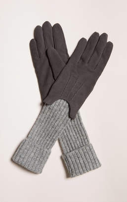 Soia & Kyo INDIANA suede gloves with ribbed sleeve