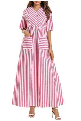 af741969a5c Ruot Womens Striped Side Pockets Short Sleeves with Plus Size Maxi Dress 2XL