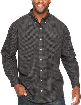 Van Heusen Wrinkle Free Poplin Button Down Mens Long Sleeve Checked Button-Front Shirt Big and Tall