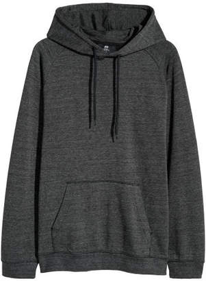 H&M Hooded Raglan-sleeve Shirt - Gray