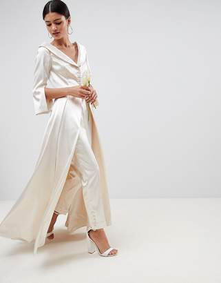 Asos Edition EDITION wedding satin off the shoulder full length jacket and tapered PANTS