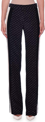 Stella McCartney High-Waist Stella Monogram Racer-Stripe Straight-Leg Silk Pants
