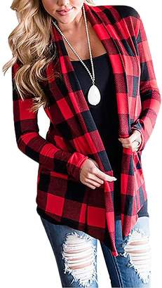 YF Women Plaid Print Elbow Patch Draped Casual Open Front Cardigan Sweater