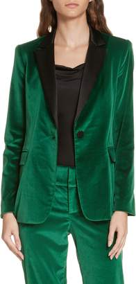 Alice + Olivia Macey Notch Lapel Fitted Velvet Blazer