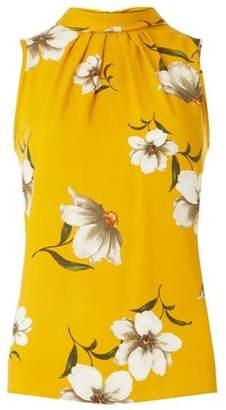 Dorothy Perkins Womens Yellow Floral Print Self Tie Top