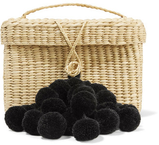 Nannacay - Baby Roge Pompom-embellished Woven Raffia Tote - Beige $170 thestylecure.com