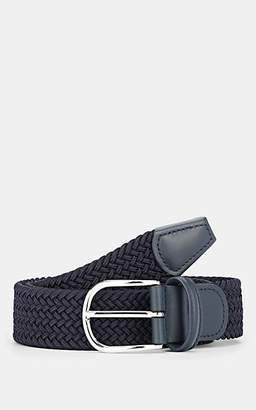 Barneys New York Men's Leather-Trimmed Braided Belt - Navy