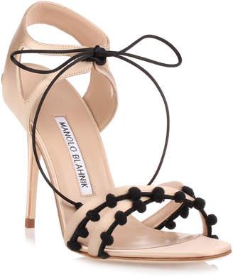 Manolo Blahnik Esparra champagne satin sandal