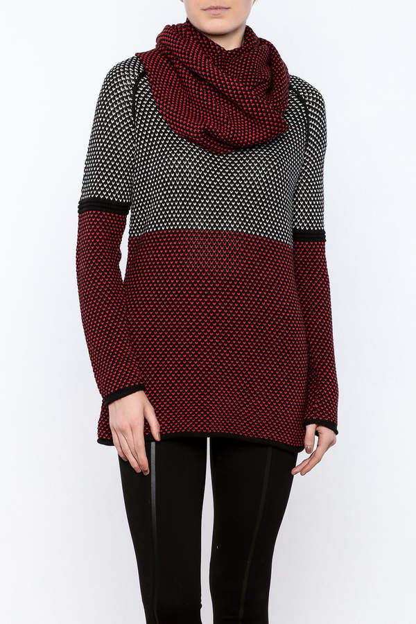 Tribal Sweater With Scarf